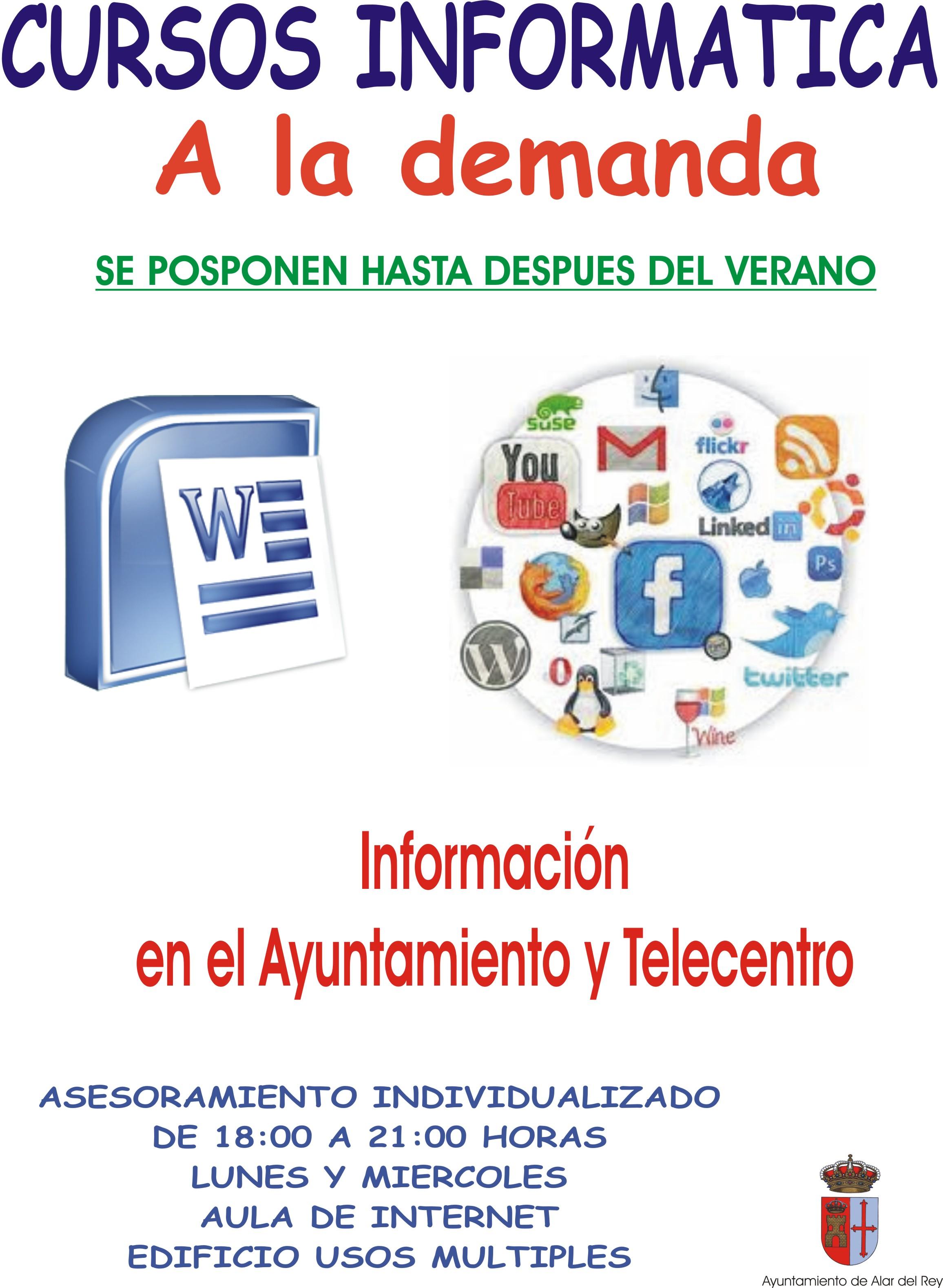 CURSOS ALFABETIZACION DIGITAL TELECENTRO, «CURSOS A LA DEMANDA»